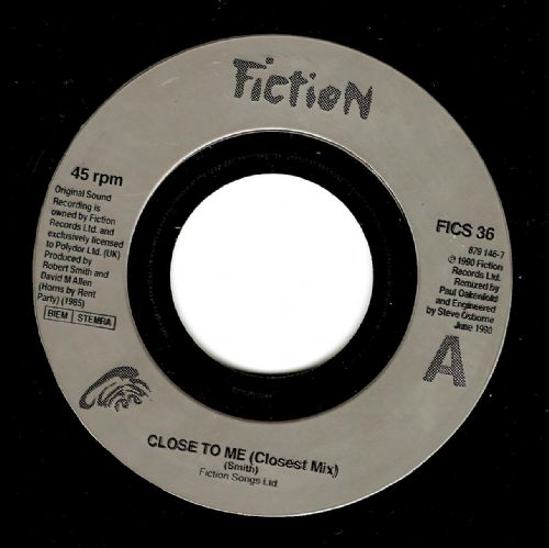 THE CURE Close To Me Vinyl Record 7 Inch French Fiction 1990